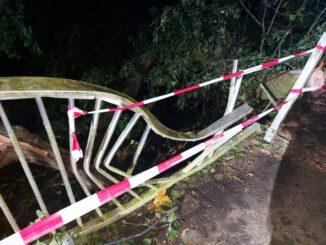 FW-ROW: Umgestürzte Bäume zerstören Brückengeländer und Straßenbeleuchtung